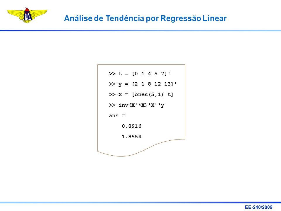 >> t = [0 1 4 5 7] >> y = [2 1 8 12 13] >> X = [ones(5,1) t] >> inv(X *X)*X *y. ans = 0.8916.